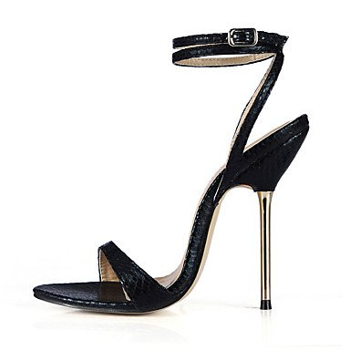 caviglia Nero gold PU Serata alla Dorato Poliuretano e A Sandali stiletto ligaosheng Formale festa Da Argento donna Cinturino qw76FT8z