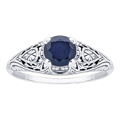 10k White Gold Vintage Style Genuine Round Sapphire Scroll Ring - 10k Gold Scroll Ring