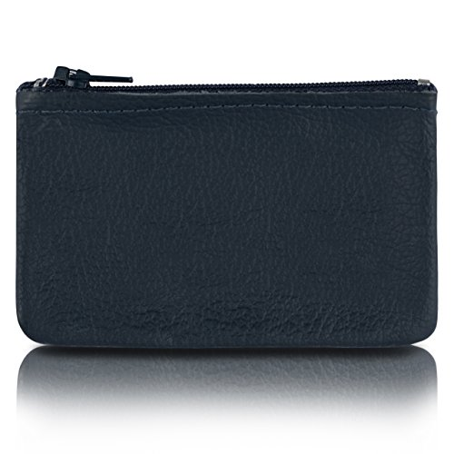 (Zippered Coin Pouch, Change holder For Men/Woman made with Genuine Leather, Coin Purse, Pouch Size 4x2.5 inches, Made IN USA (Navy))