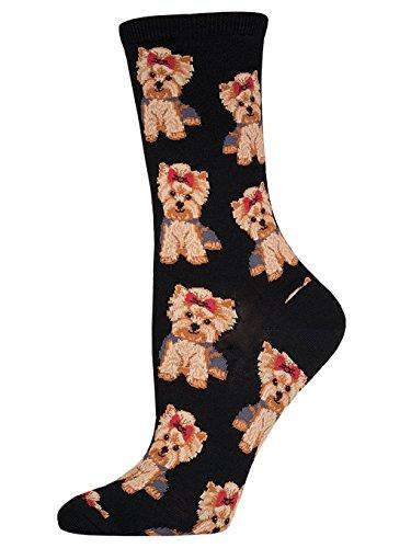 Chewie the Yorkie Stuffed Animal · Socksmith Women's Yorkies Crew Socks, Black, Medium
