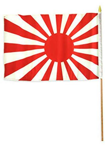 Mikash 12x18 12x18 Japan Rising Sun Stick Flag Wood STF | Model FLG - 2138