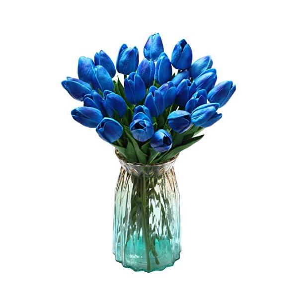Teyssor 20 pcs Artificial Tulip Flowers Bouquet Real Touched Faux Flowers Tulips Arrangement Bouquet for Home Party Office Garden Wedding Hotel Decoration (Blue)