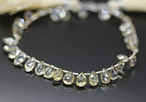 "KALISA GEMS Beads Gemstone Rare Scapolite Faceted Pear Drop Gemstone Craft Loose Beads Strand 4"" 10mm 8mm"