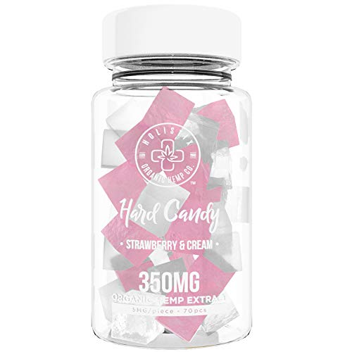 Organic Hemp Infused Hard Candy, 350 mg (5mg/piece) - Made with Organic Beet Sugar - Relieve Stress, Boost Mood, Gluten Free, Non-GMO, USDA Certified Vegan 70 Candies, Strawberry and Cream