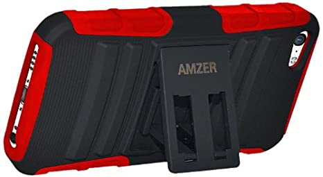 Amzer AMZ96676 Amzer Rugged Hybrid Kickstand Case Cover for Apple iPhone 5C, iPhone 5 C-Skin-Carrier Packaging, Black/Green