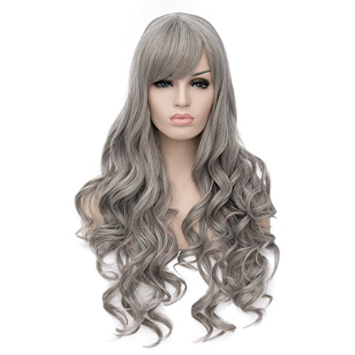 Colored Wigs (Topwigy Women Long Curly Grey Wigs with Bangs Synthetic Realistic Natural Colored Hair Wig Cosplay Custom Daily Party Wig+ Wig Cap 28