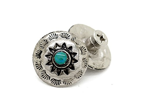 CRAFTMEmore 5/8 Inch Silver Flower Conchos Turquoise Dot Round Shape Metal Castings Screw Back Button Pack of 2 CHS03 (Silver Plate) ()