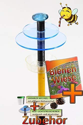 BTV Batovi Tränke für Insekten Holz schwarz-gelb-B Gartendeko MASSIVHOLZ Sonnenfänger als funktionale Bienentränke, Bienenwiese + 2X Lichtscheibe BLAU +6X Tränke-Bienenstock