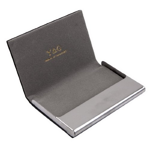 CC1005 Grey Business Fashion Card Holder Black Leather Card Case Contemporary Economics Fashion Young Gentlemen Gifts By Y&G
