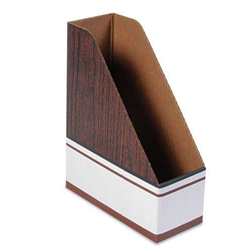 Bankers Box Corrugated Cardboard Magazine File, 4 x 9 x 11 1/2, Wood Grain, 12/Carton