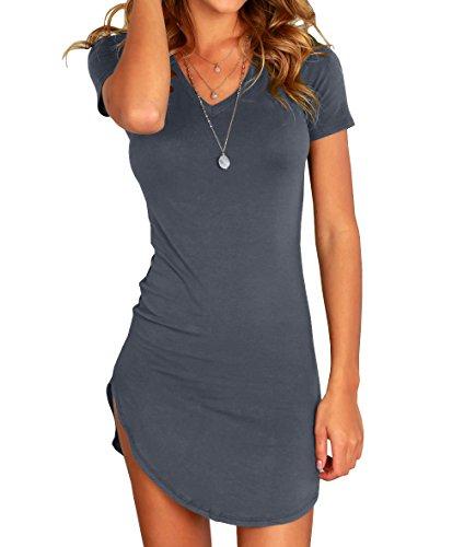 Dark Hem Short Sleeve Irregular Women's Tight Karlywindow Grey T Bodycon Mini Shirt Dress Sexy Dress CAnURwq