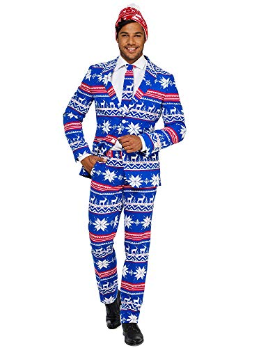 (OppoSuits Christmas Suits for Men in Different Prints - Ugly Xmas Sweater Costumes Include Jacket Pants & Tie + Free)