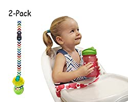The Original Multipurpose and Adjustable Cup/Bottle Strap 2-Pack. Sippy Cup Strap for High Chairs, Strollers, Bikes. Leash Also Secures Sports Bottles, Baby Bottles & Toys (Blue)