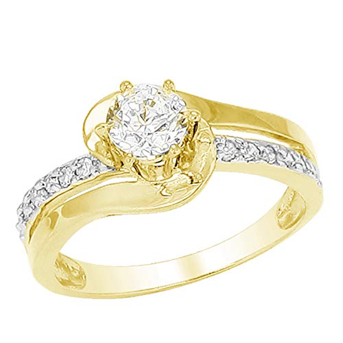 (1.15 TCW Round Cut White Simulated Diamond 10k Yellow Gold Promise Engagement Ring 9.5)