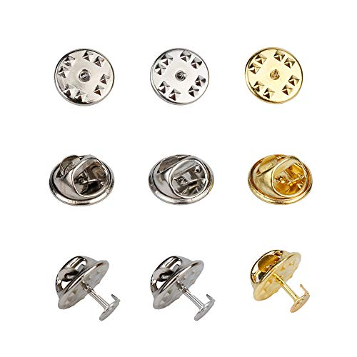 Tugaizi 150 Pairs 3 Colors Butterfly Clutch Metal Tie Tacks Pin Back Replacement 8mm Length Blank Pins for Craft Making