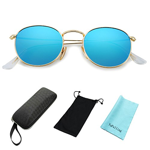 YuFalling Polarized Sunglasses for Men and Women, Classic Vintage Small Round Lens (ice blue, - Most Mens Stylish Sunglasses