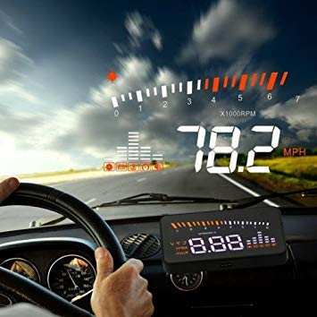 Uniqus X5 HUD 3 inch Universal Multi Car Head Up Display with OBDII EOBD System, Light Sensors, redation Speed, redation Speed Unit, Unit Mark, Voltage, Water Temperature, Alarm Mark(Black)