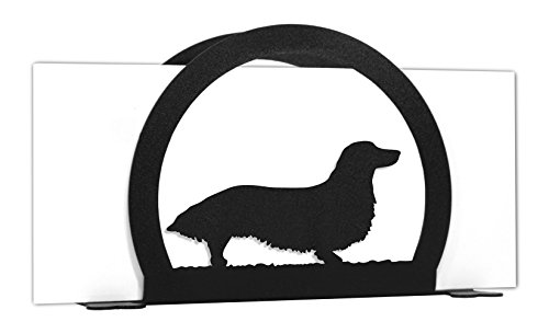 LONG HAIR DACHSHUND Metal Letter Napkin Card Holder