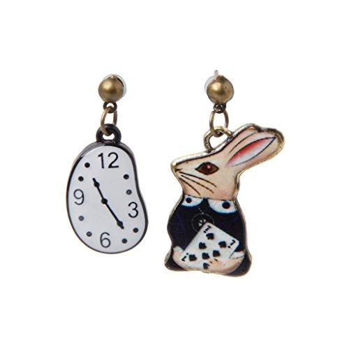 Kofun 1 Pair Earrings, Rabbit Clock Poker Party Cartoon Icon Earrings Alice in Wonderland Stud Earrings Rabbit Pocket Watch A from Kofun