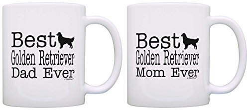 Dog Lover Gift Best Golden Retriever Mom Dad Ever Pup Bundle 2 Pack Gift Coffee Mugs Tea Cups White