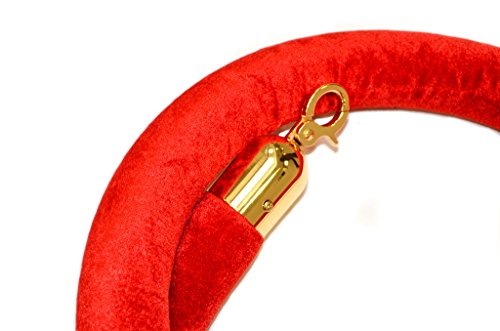- Tensator QWAYROPE-21-8-2P QwayRope, Classic Line, 8' Red Velour Rope, Polished Brass Ends
