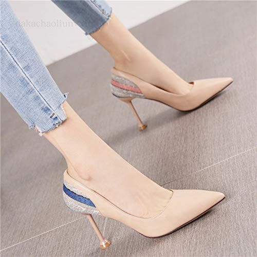 Soft Women'S Pink Spring Bottom Bow Autumn Beige Pu High Heels Shoes Shoes Yukun Wedge Comfortable Pointed Female Female And heels Single High Sports 38 xwYqTHfg