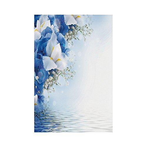 Dreamy Hydrangea (Polyester Garden Flag Outdoor Flag House Flag Banner,Light Blue,Blue Hydrangeas and White Irises over The Sea Romantic Bouquet Dreamy,Blue Light Blue White,for Wedding Anniversary Home Outdoor Garden)