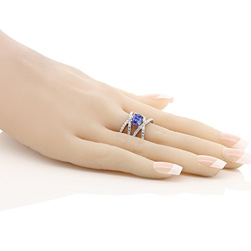 925 Sterling Silver Blue Tanzanite Women's Criss Cross Ring (2.09 Cttw, 8X6MM Oval Center, Available in size 5, 6, 7, 8, 9 by Gem Stone King (Image #2)