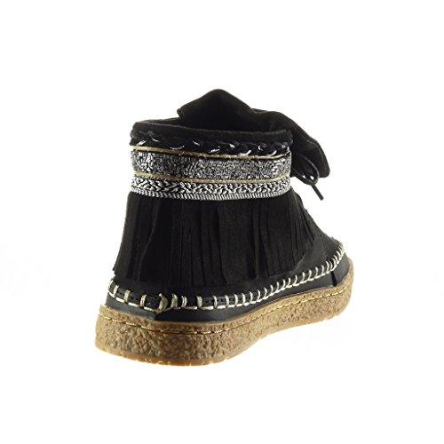 Angkorly - Chaussure Mode Bottine femme frange fantaisie brodé Talon plat 2.5 CM - Noir