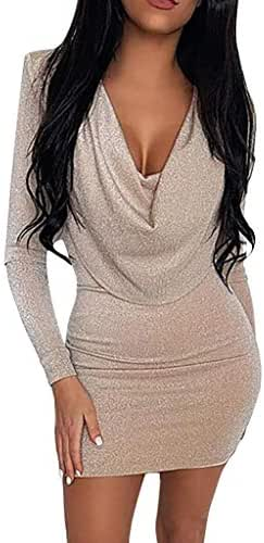 AmazingDays Women Deep V-Neck Elegant Bodycon Sequins Dress Long Sleeve Party Mini Dresses