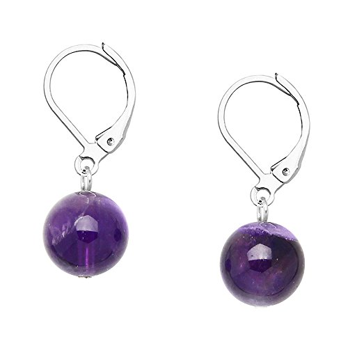 Coral Purple Earrings - Falari 10mm Round Natural Stone Earring High Polished Rhodium Leverback Amethyst
