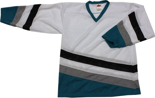 MENS HOCKEY JERSEY PRO TREND DUCKS WHITE/TEAL (LIGHT) size SMALL