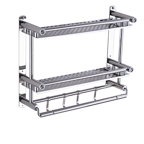 ZH Shower Caddies Stainless Steel Bathroom Shelf with Towel Bar and Hooks Wall Mounted Towel Racks Shower Organizer Rack, 2 Tier, Anti-Rust (Size : 50×15×38 cm)