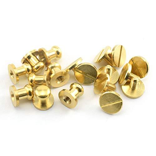 LQ Industrial 8PCS Solid Brass Sam Browne Button Screw Studs Nail Round Rivets for DIY Leather Craft Belt Wallet Handbag 6x8x8mm