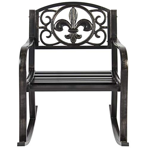 Wrought Scroll Rocker Iron - JaxTerrific Charming Outdoor Metal Rocking Chair, Sturdy and Long Lasting Wrought Iron Construction, Beautiful Black Finish, Up to 250 lbs Weight Capacity, Ideal for Porch or Patio, Black Finish