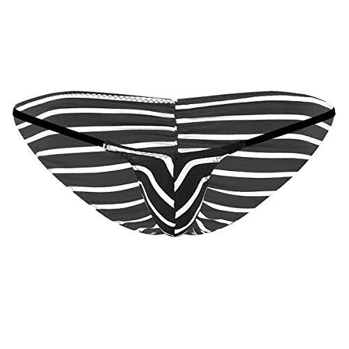 Agoky Men's Striped Thongs T-Back Low Rise Bikini Briefs Cotton Stretch Narrow Pouch Underpants Black Medium (Waist 24.5-35.0