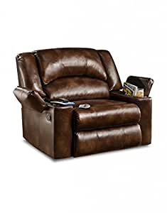 Simmons Upholstery U711-14 Vintage Bonded Leather Downtime Lounger Recliner