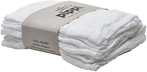 Pippi - Pañales de tela (4 unidades, algodón orgánico), color blanco: Amazon.es: Bebé
