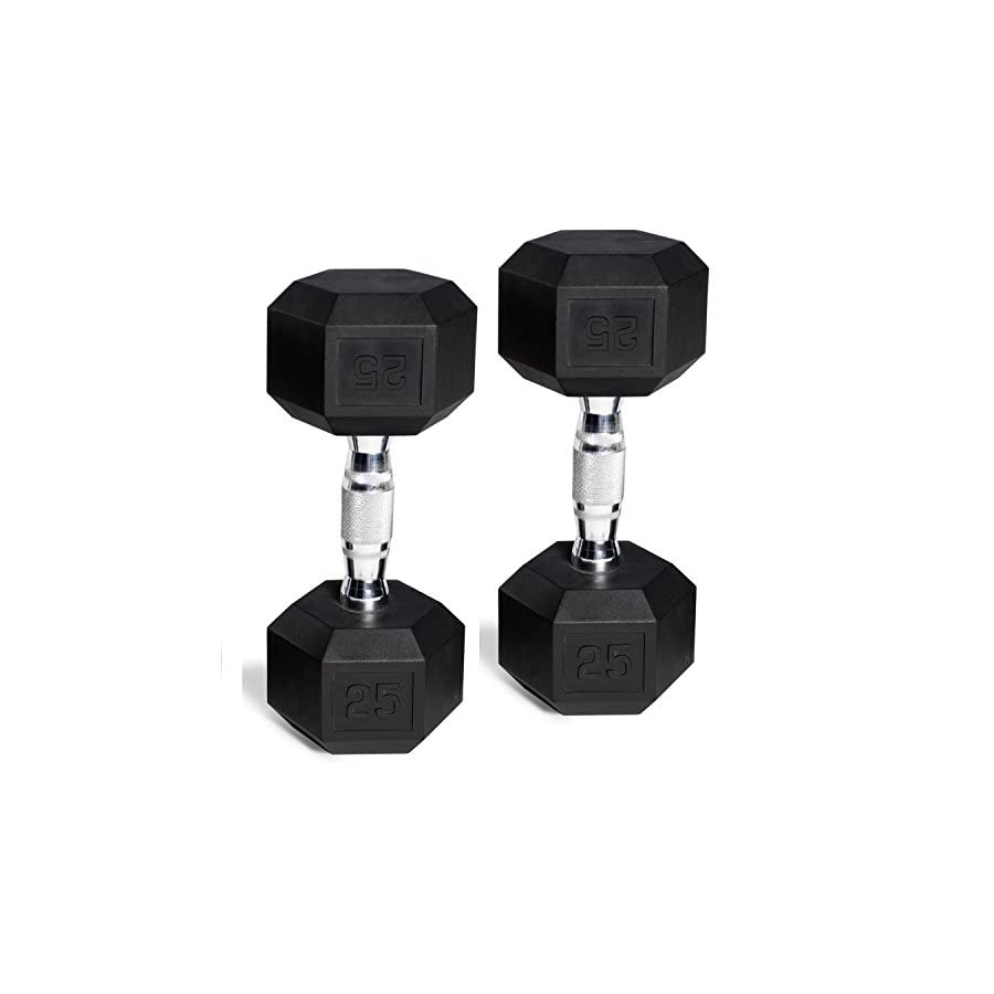 CAP Barbell Set of 2 Hex Rubber Dumbbell with Metal Handles, Pair of 2 Heavy Dumbbells Choose Weight (5lb, 8lb, 10lb, 15lb, 20 Lb, 25lb, 30lb, 35lb, 40lb, 50lb)