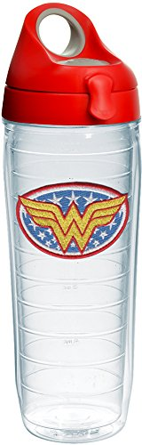 - Tervis 1231187 Wonder Woman Tumbler with Emblem and Red with Gray Lid 24oz Water Bottle, Clear