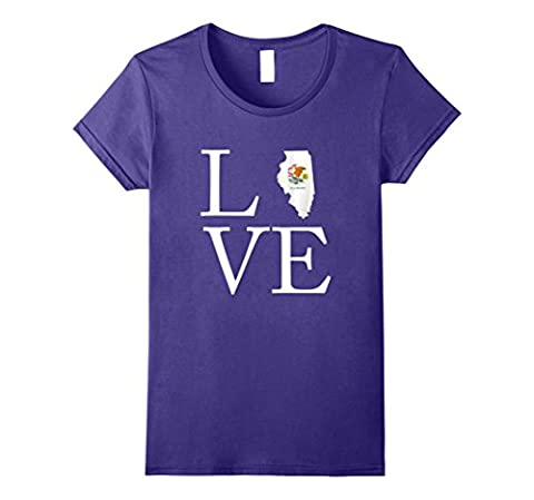 Womens Love Illinois State Flag Map Tshirt Gifts Large Purple