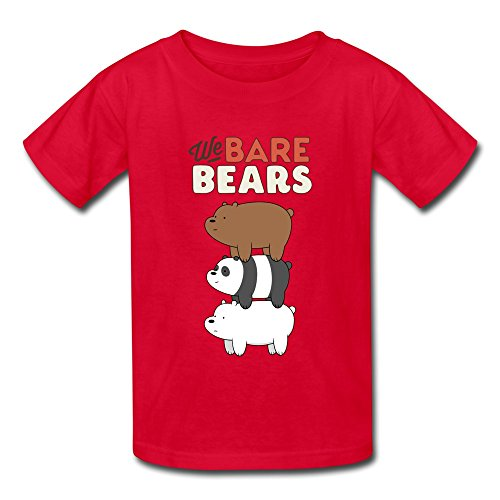 We Bare Bears Kids Boys Girls T Shirt Red Size M 100% Cotton