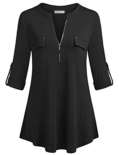 Black Button Tab Pencil Skirt - Helloacc Womens Tops and Blouses,Fashion Notch Neck Casual Shirts Winter Knits 3 4 Sleeve Zip Curved Hemline Cute Fall Tunic Shirts for Ladies Office Wear Dressy Tee Black Medium US10-12