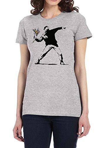 Banksy Flower Thrower - Womens Tee T-Shirt, Large, Heather Gray