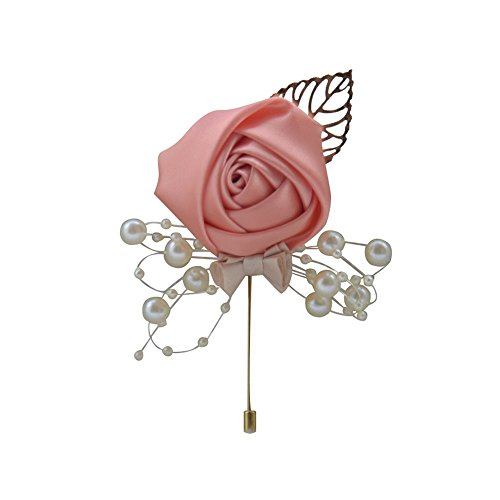 MOJUN Groom Boutonniere Pearl Beaded Bowknot Wedding Silk Rose Flowers Accessories Prom Pin Man Suit Decoration, Pack of 4, 6# ()