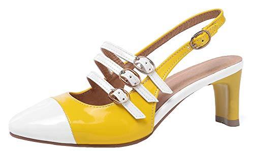 (Mofri Women's Sexy Buckle Four Straps Square Toe Slingback Block Mid Heel Pumps Sandals (Yellow, 13 M US))