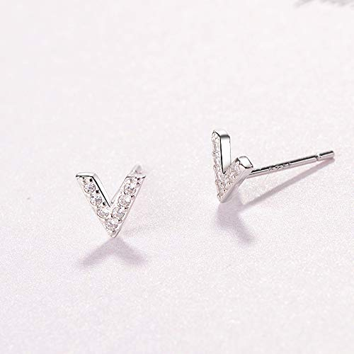 925 Sterling Silver AAA Cubic Zirconia Letter V Earring Alphabet Charm Stud Post Earrings