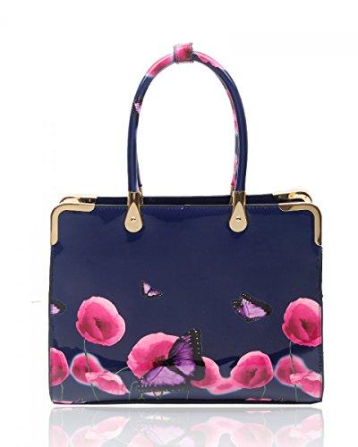 LeahWard? Women's Patent Top Handle Large Handbag Shoulder Tote Bags BLUE DEPTH PB