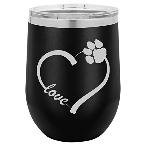 12 oz Double Wall Vacuum Insulated Stainless Steel Stemless Wine Tumbler Glass Coffee Travel Mug With Lid Love Heart Paw Animals (Black)