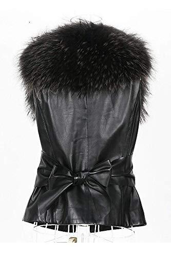 Chaqueta Adelina Negro Casuales Elegantes Mujer Chaleco Sintético Mangas Sin Invierno Sintética De Cómodo Fashion Otoño Piel Retro Cuero Exquisito vBrvx